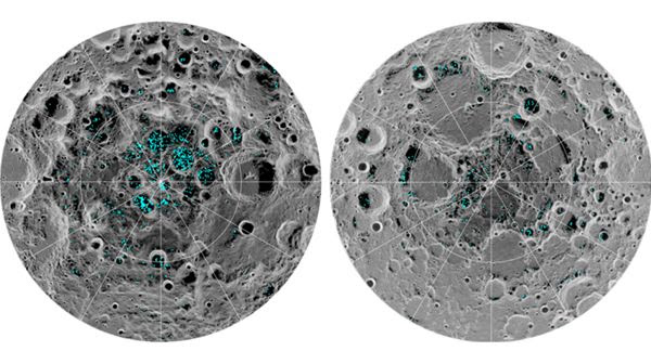 Two images of the Moon's north and south poles, taken by a NASA instrument aboard India's Chandrayaan-1 spacecraft, show water ice scattered about on the lunar surface.