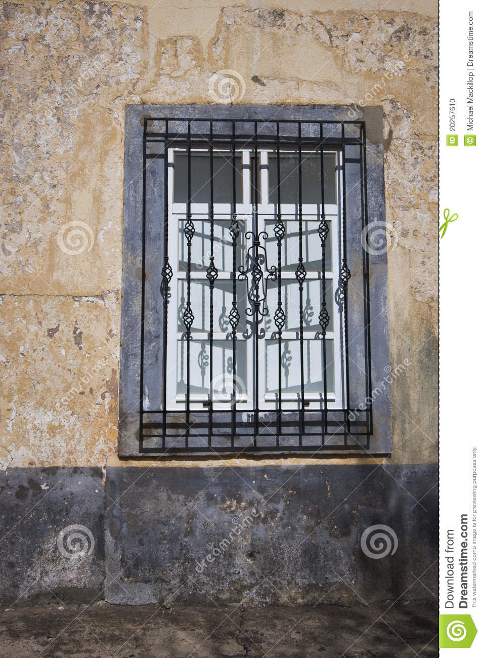 Wrought Iron Window Grille Stock Photo - Image: 20257610