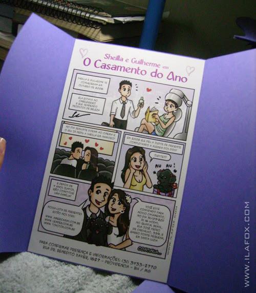 Convite original, casamento convite em quadrinhos, convite personalizado histórica casal, by ila fox