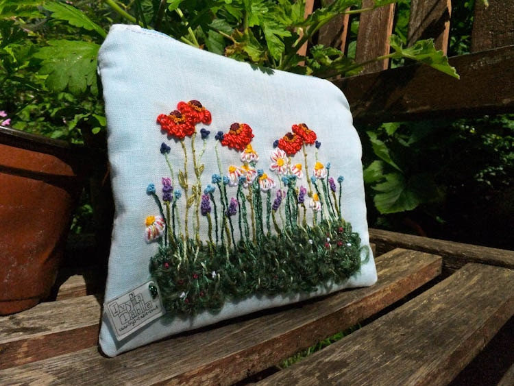 Hand embroidered summers day garden purse