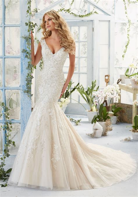 Lace and Crystal on Net Wedding Dress Over Satin   Style