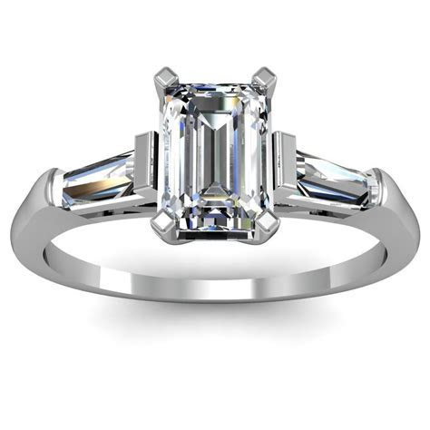 Emerald Cut Tapered Baguette Engagement Ring   But with