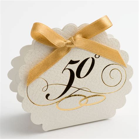 golden wedding anniversary favour boxes scalloped