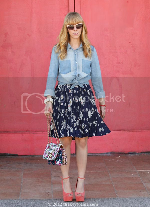 Forever 21 chambray shirt, Jason Wu for Target floral skirt, Wild Pair Jemma peep-toe wedges, Marni at H&M bracelet, Los Angeles fashion blog