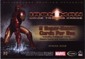 back of the Iron Man P2 trading card