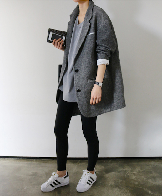 Le Fashion Blog 25 Ways To Wear Adidas Sneakers Oversized Coat Black Leggings Superstar Via Death By Elocution