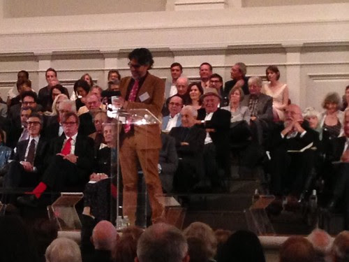 Michael Chabon, delivering the Blasford Lecture, American Academy of Arts & Letters