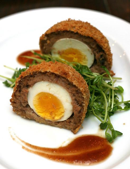 Scotch Duck Egg, Pea Salad