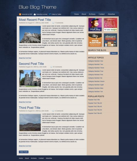 Design a Stylish Blue Blog Theme in Photoshop