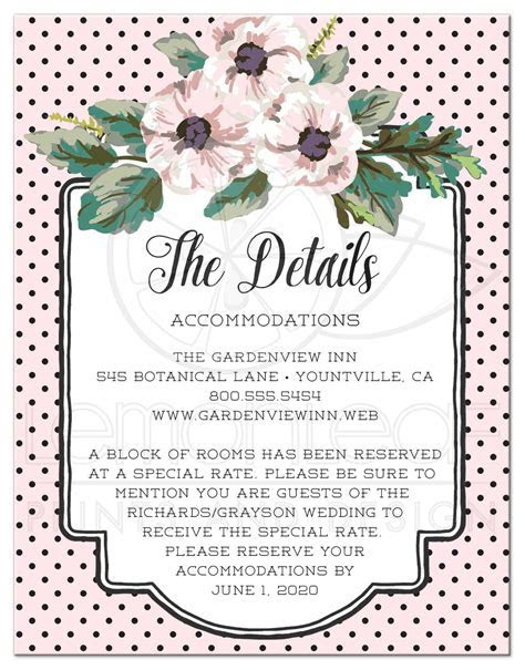 Wedding Enclosure Cards   Retro Polka Dots & Flowers