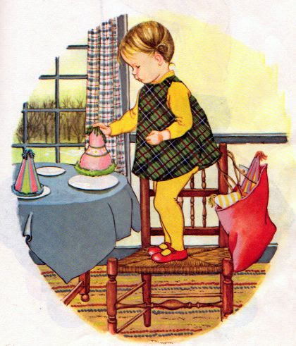 """Baby's Birthday, Eloise Wilkin, 1972- Setting the table      from """"Baby's Birthday"""", Little Golden Book, 1972 Editionstory by Patricia Mowersillustrations by Eloise Wilkin"""