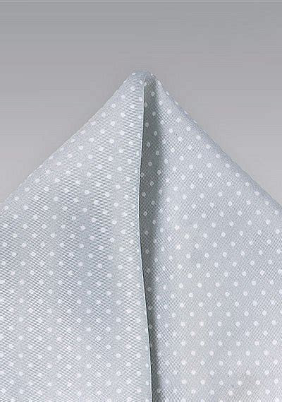 Formal Silver and White Pin Dot Pocket Square   Bows N