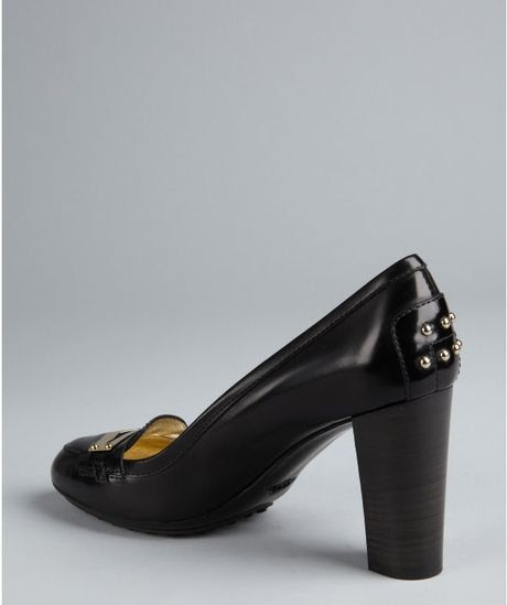 Tod's Black Leather Stacked Heel Penny Loafers in Black   Lyst
