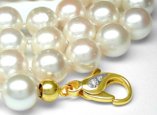 Foto 2, Perlenkette -8,5mm River! Lupenrein! Goldschloss Luxus!, S7621