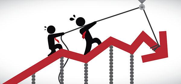 Business people surviving financial crisis