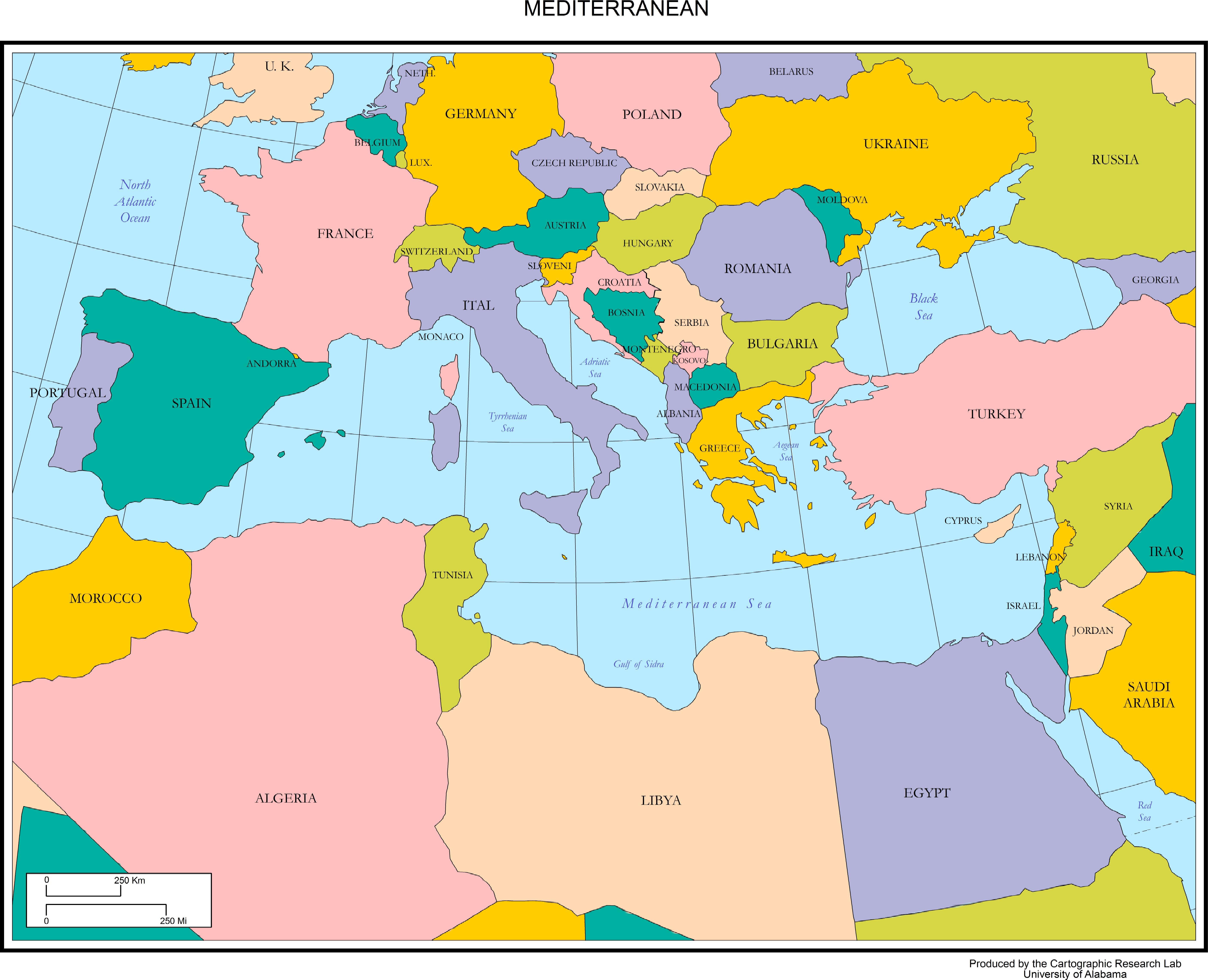 map of the mediterranean europe Map Of Mediterranean Europe