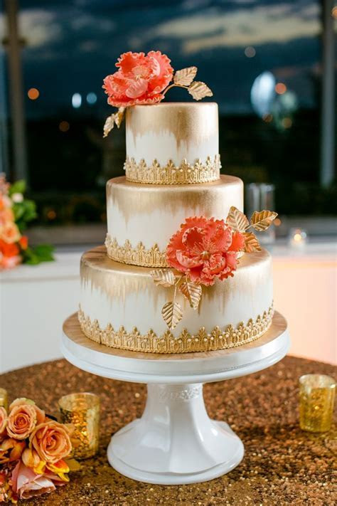 An Elegant Navy and Coral Wedding   WEDDING CAKES