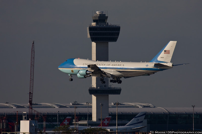 Air Force 1 passes the JFK tower on landing.