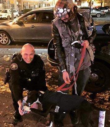 Portland Police Officer engages with youth on street