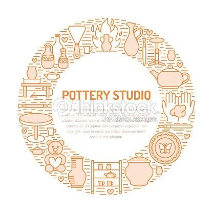 陶器のワーク ショップ陶芸教室バナー イラストです粘土 Studio ツールの