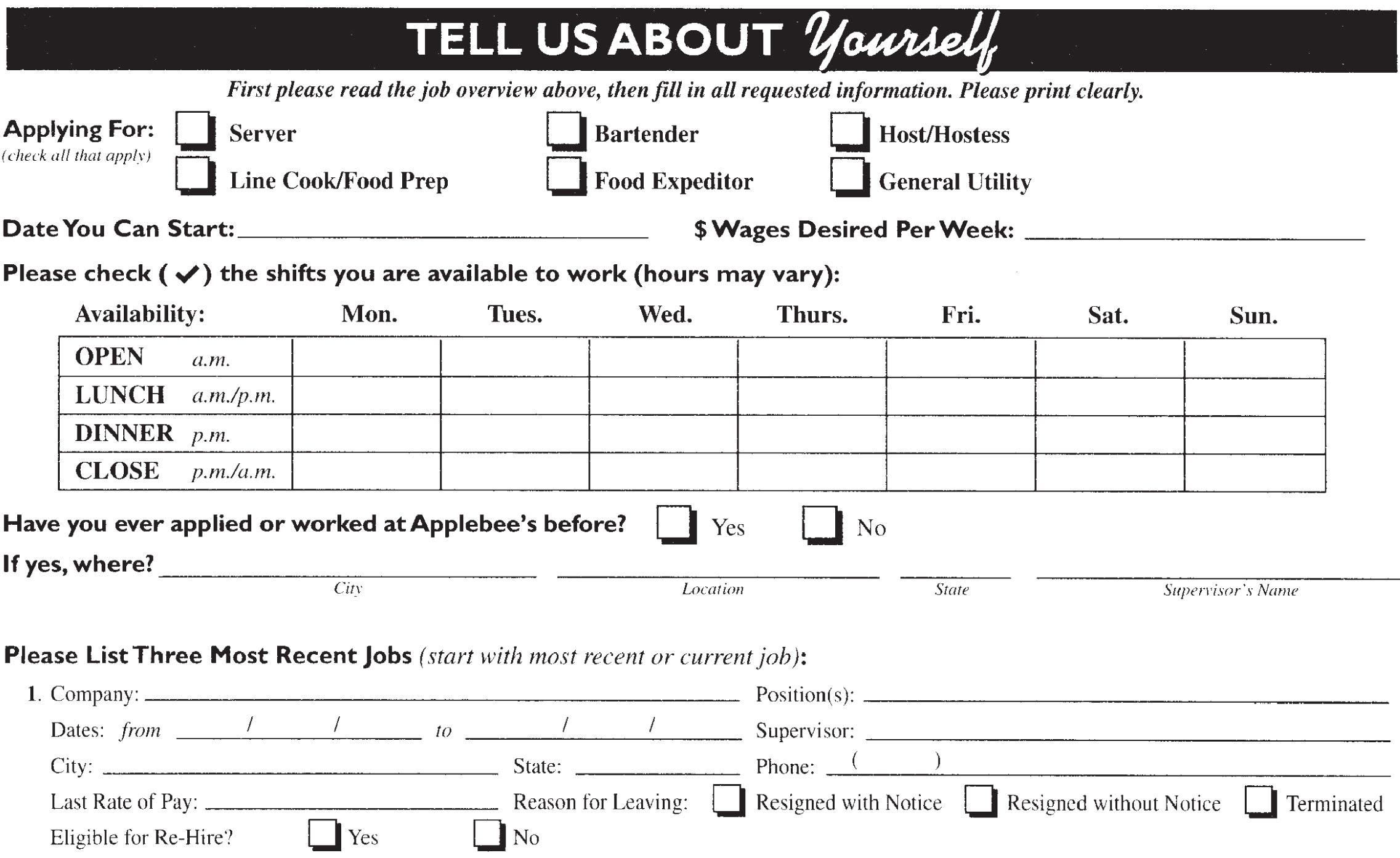 Get Paid Survey: Pizza hut job application form