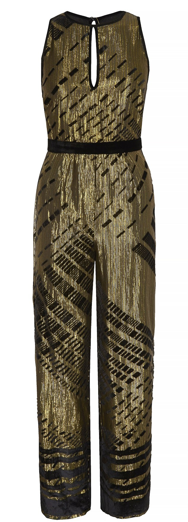 Jump on the jumpsuit trend with Next's fabulously festive black/gold devore jumpsuit, £80, from Next