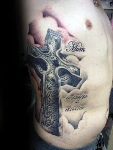 Masculine Celtic 3d Cross Rib Cage Side Tattoo For Males