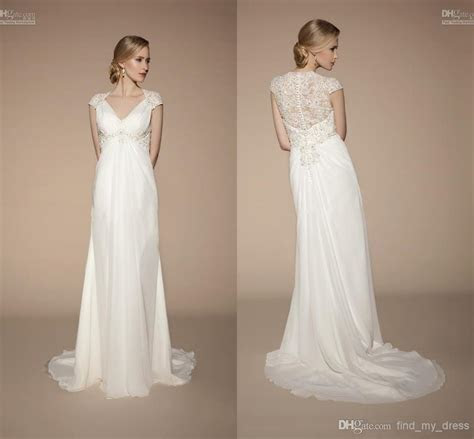 Popular Style Beach Empire Wedding Dresses Cap Sleeve V