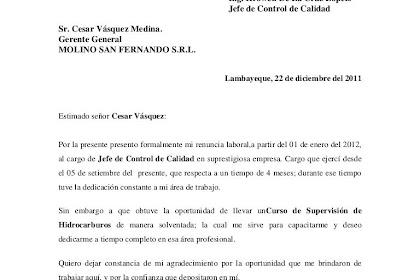 Modelo De Carta De Renuncia Laboral Voluntaria Y Agradecimiento