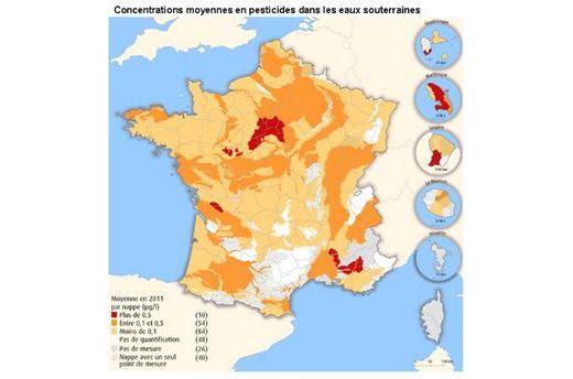 93% des cours d'eau français contaminés par les pesticides_MAP_Concentrations moyennes en pesticides dans les eaux souterraines