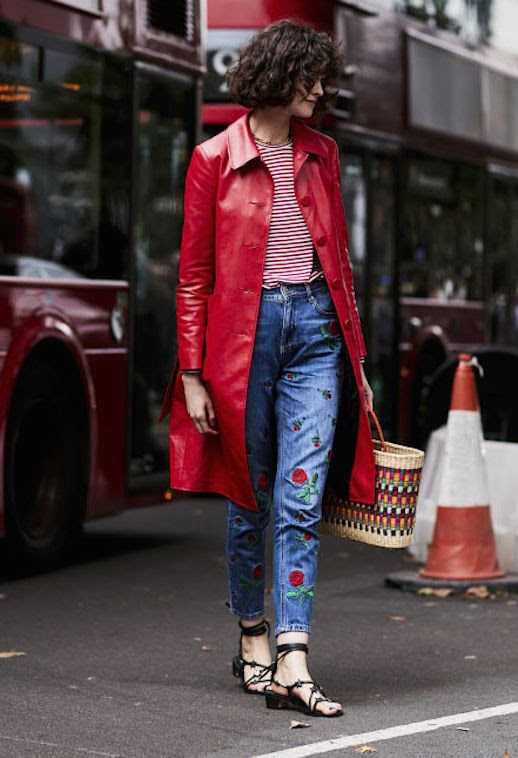 Le Fashion Blog london Fashion Week Red Coat Striped T Shirt Floral Embellished Jeans Black Strappy Sandals Via Elle UK