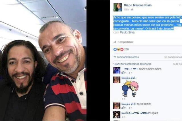 """Bispo posta selfie com Jean Wyllys e escreve: """"Ou se converte, ou morre"""" Facebook/Reprodução"""
