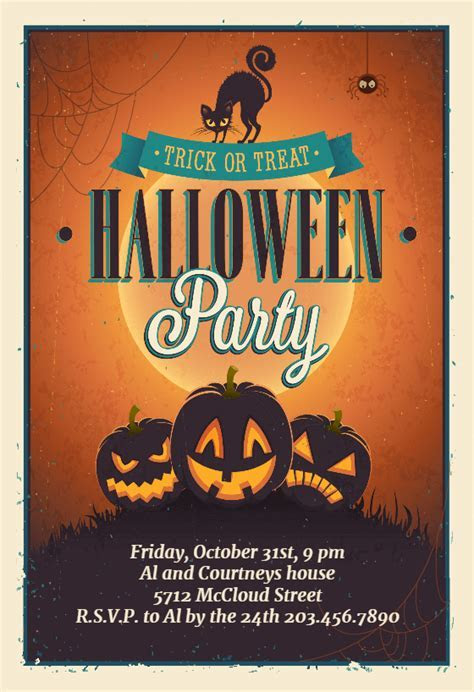 Vintage Party   Halloween Party Invitation Template (Free