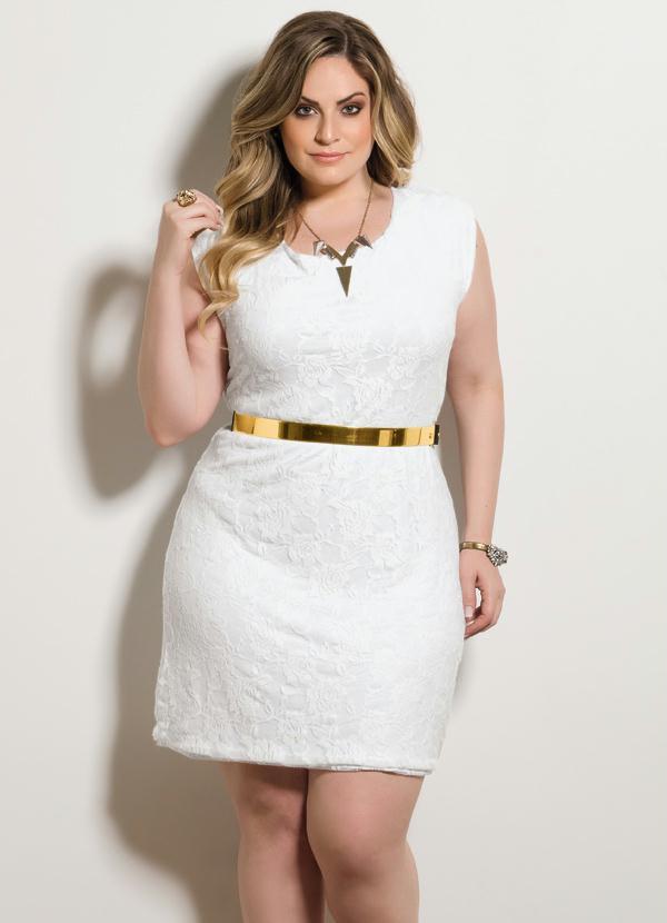 Vestido Tubinho Renda (Branco) Plus Size