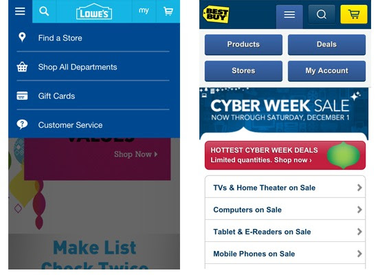 How to Make Mobile eCommerce Convert: What's Effective In Mobile Design Right Now image mobile menus 1