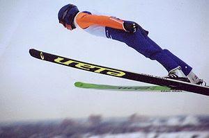 A ski jumper in Calgary, Canada.
