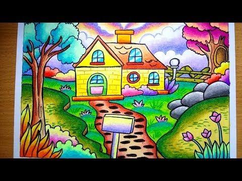 Mewarnai Gradasi Pemandangan Cara Menggambar Rumah