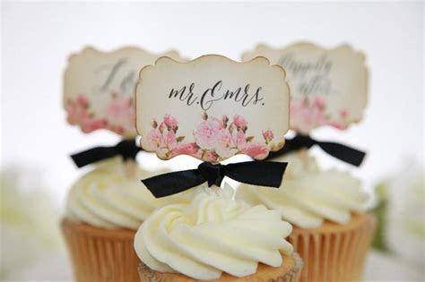 Vintage Floral Wedding Cupcake Toppers, Mr. & Mrs., Love
