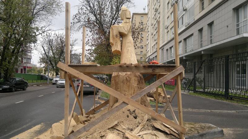 Резьба скульптуры на корню