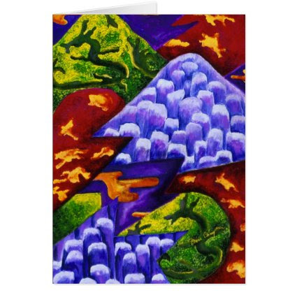 Dragonland, Abstract Green Dragons, Blue Mountains Greeting Cards