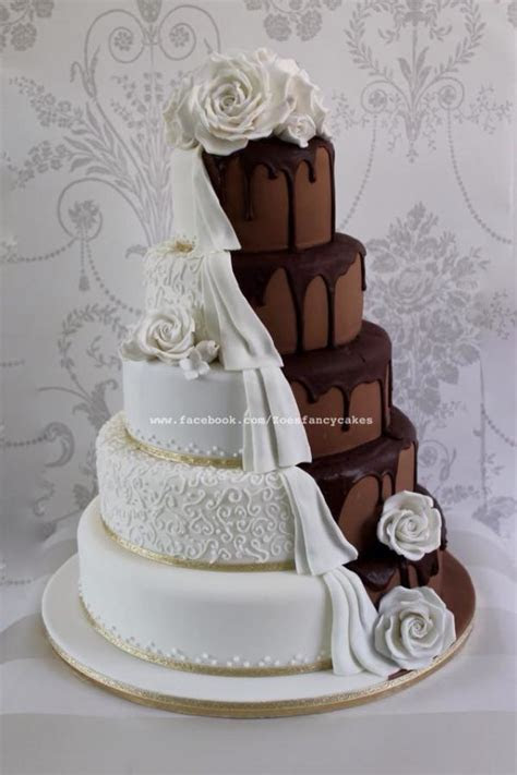 Dripping chocolate wedding cake half and half   cake by