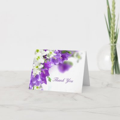 purple flower wedding thank you noteswedding thank you note cards