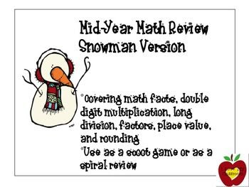 Mid Year Math Review (Snowman Version) - factors, long division, double digit multiplication, place value, rounding