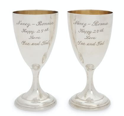 A PAIR OF SILVER PLATE PRESENTATION GOBLETS, A 25TH