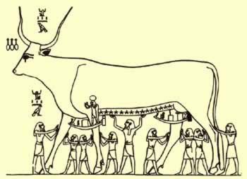 Line Rendering of the Celestrial Cow from the Tomb of Seti I