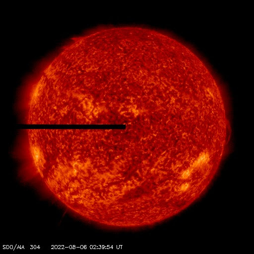 Near-Live image of the sun in 304 angstrom as seen by NASA's Solar Dynamics Observatory.