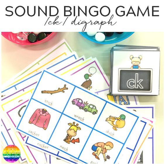 Printable Digraph Bingo Game for /ck/ Sound | Bingo, Words and Monkey