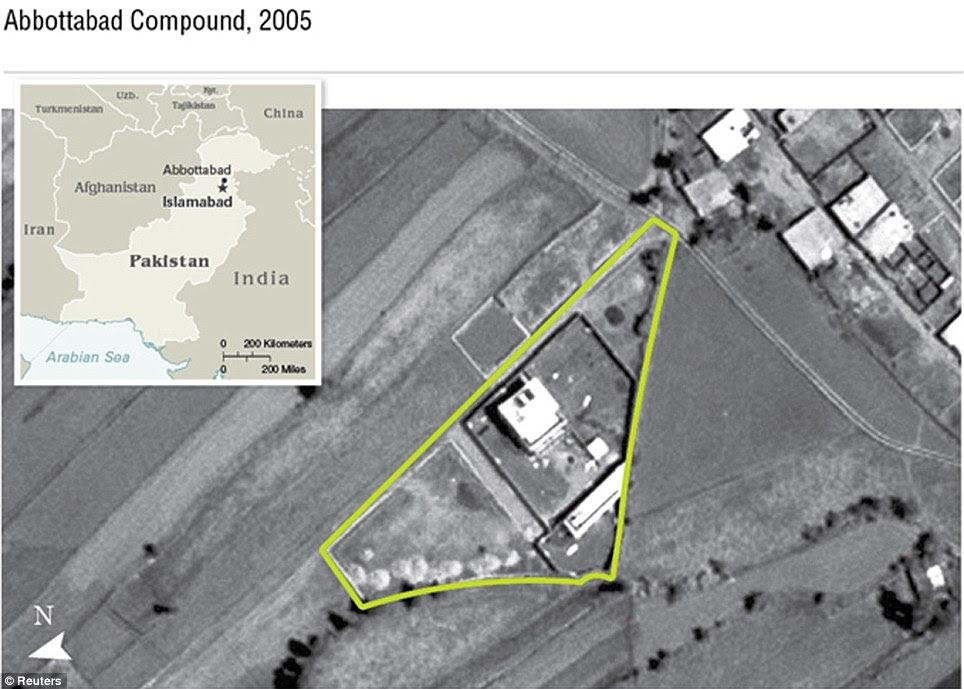 covil de Bin Laden: O composto em Abbottabad, Paquistão, estava a meia milha de uma academia militar. Se tivesse sido atingido em um ataque aéreo que provavelmente teriam sido vítimas civis