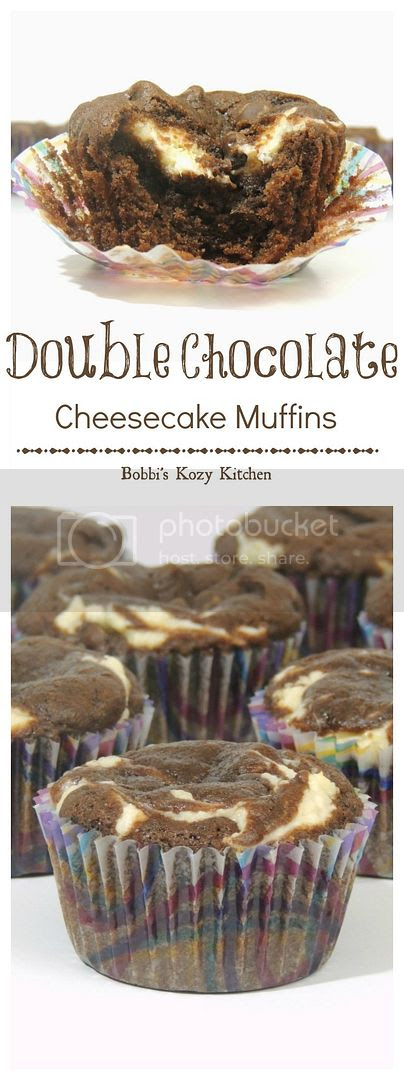 Double Chocolate Cheesecake Muffins - Can't decide between a brownie or cheesecake for your dessert? No worries! Just give one of the moist little treats a try! | From www.bobbiskozykitchen.com