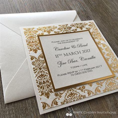Engagement Invite   White Cherry Invitations   Princess Gold